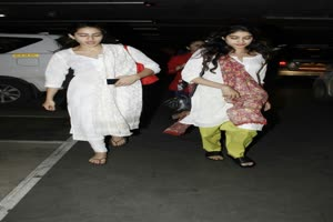In Graphics: SAME SAME! Saif's daughter Sara & her BFF Jhanvi Kapoor SNAPPED at the airport TWINING in white…